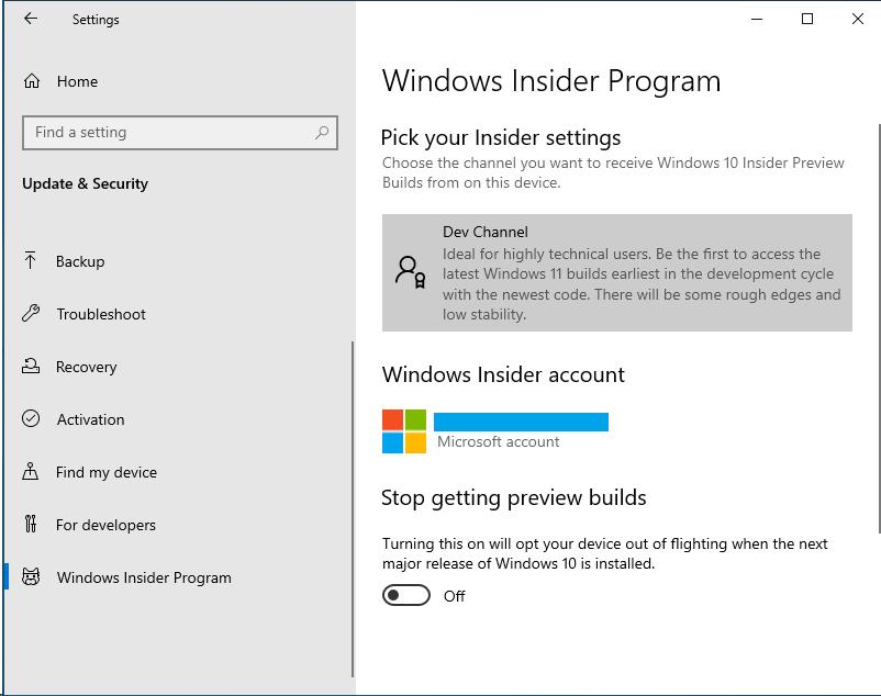 Windows Insider Program tab