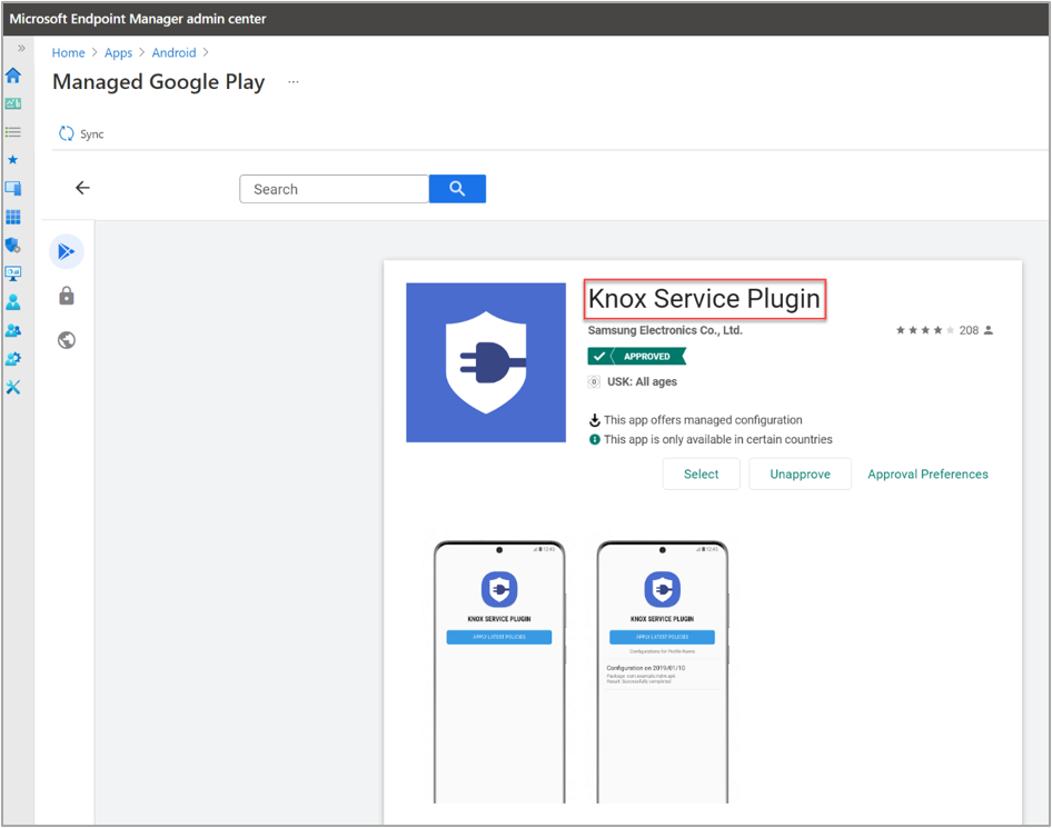 """Adding the """"Knox Service Plugin"""" via the Managed Google Play Store."""