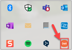 Example of the DeX icon in the Windows system tray when a DeX device connects to the PC.