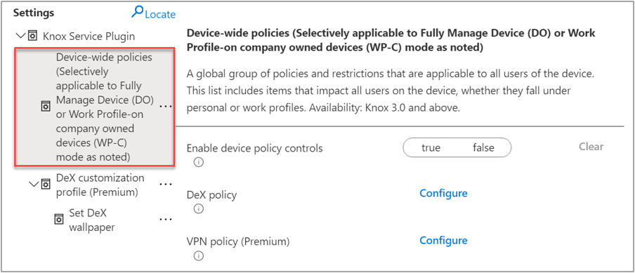 """Screenshot of an sample OEMConfig and highlighted example of the """"Device-wide policies"""" that can be targeted to DeX devices."""