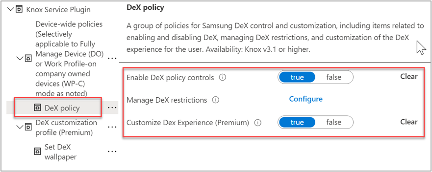 """Screenshot of an sample OEMConfig and an expanded """"DeX policy"""" section to find device-wide policies."""
