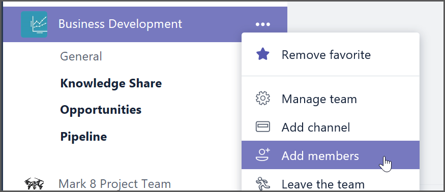 To invite a guest to a team, select Add Members in the menu next to the team name.