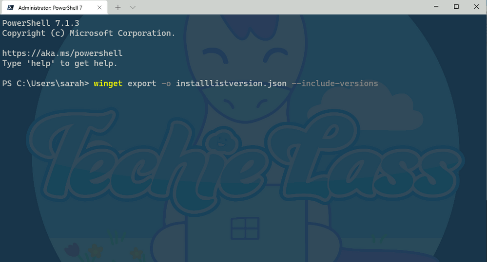 Windows Package Manager export with versions