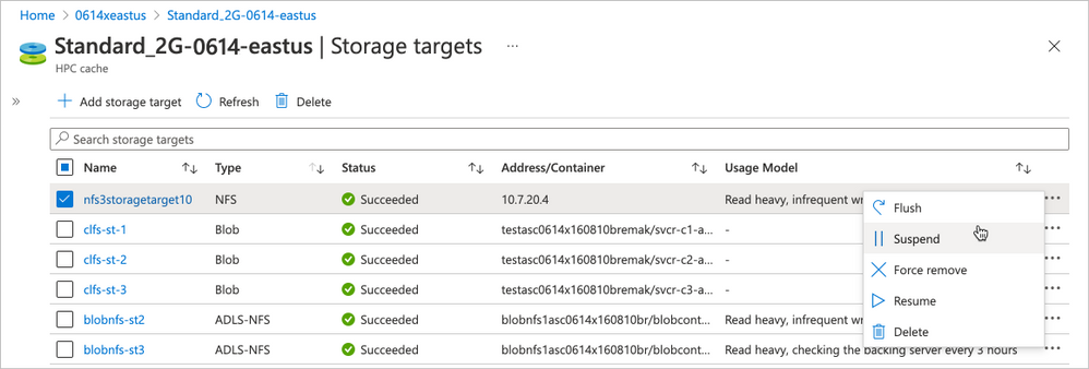 Newly added storage target management options for HPC Cache