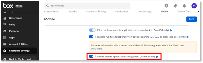 """Screenshot of the Box admin portal with the """"Intune Mobile Application Management (Intune MAM)"""" setting highlighted."""