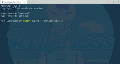 Windows Package Manager export command