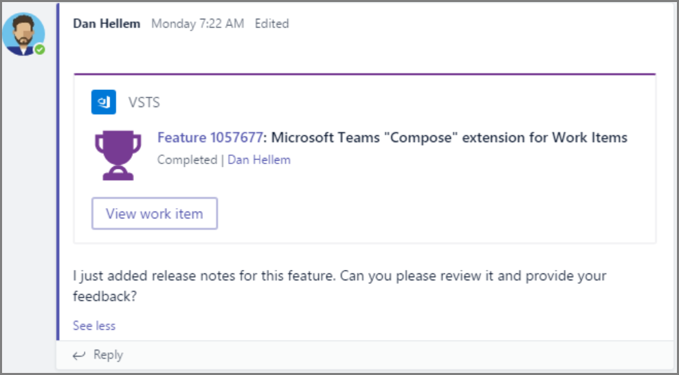 Include information from VSTS in your conversations