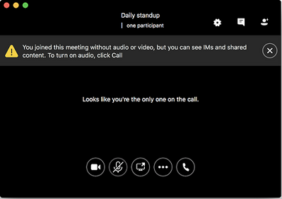Skype for Business window when you join a meeting without audio.