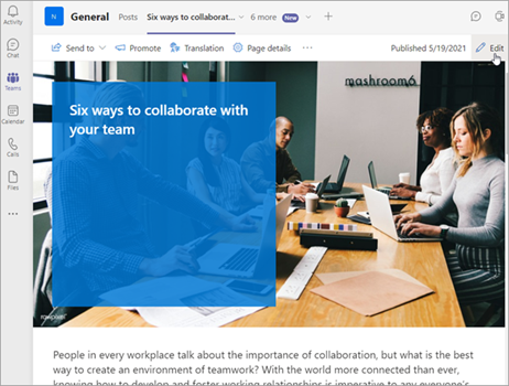 SharePoint pages and News pinned as tab in Microsoft Teams