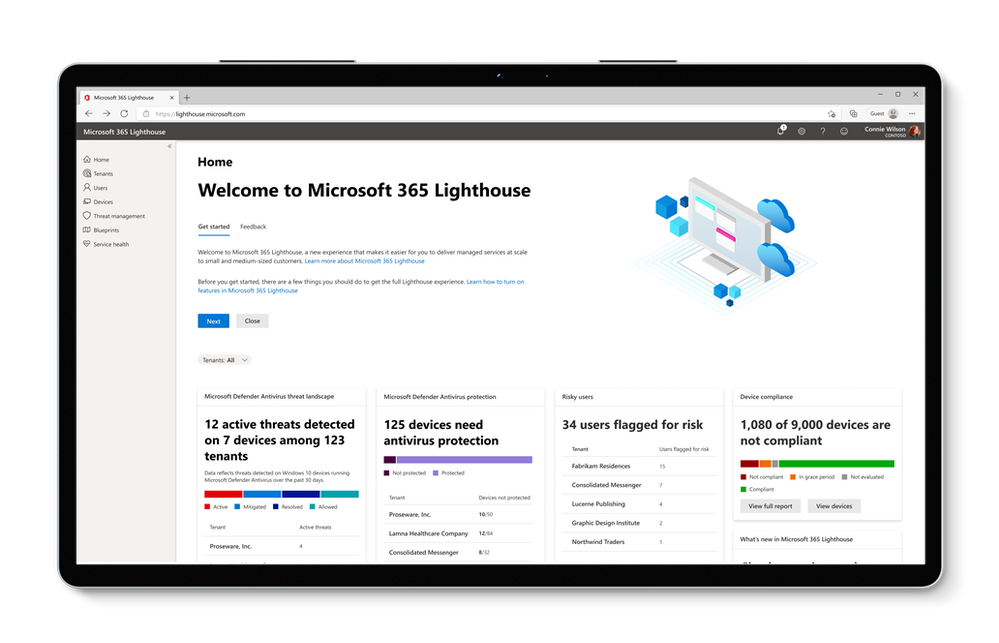 Microsoft 365 Lighthouse homepage showing alerts across multiple customers at a glance.