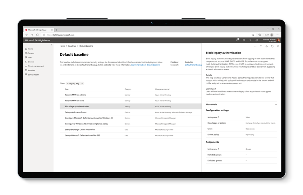 Baseline configurations optimized for SMBs are ready for review within Microsoft 365 Lighthouse