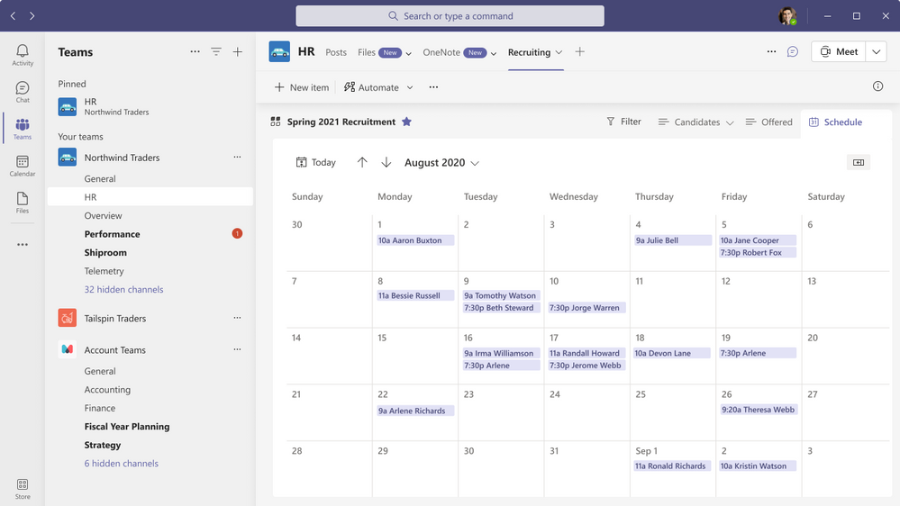Calendar view as it appears when viewing within a Teams channel tab.