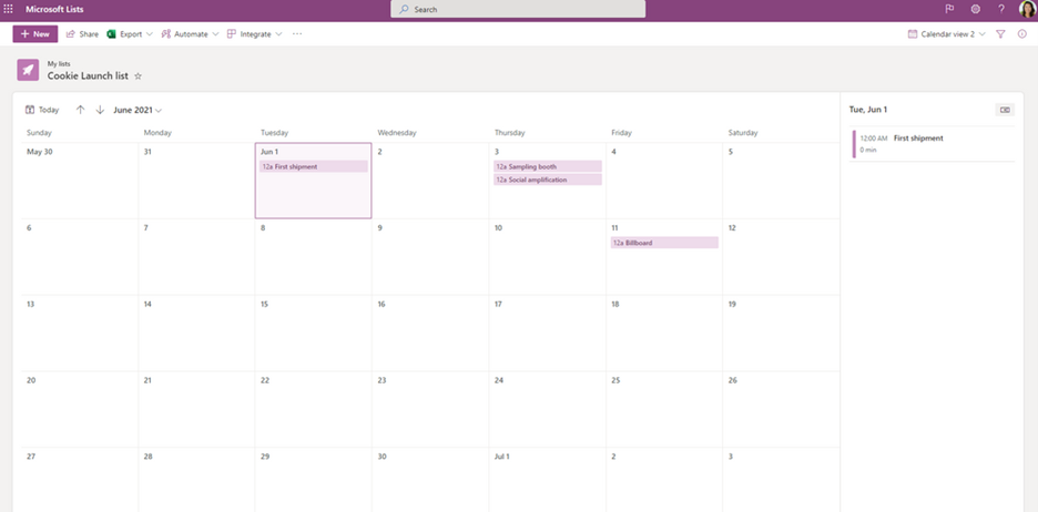 Calendar view as it appears when using the Lists app in Microsoft 365.