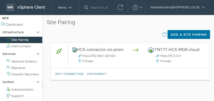 HCX Cloud Manager in Azure VMware Solution paired with an on-premises VMware HCX Connector