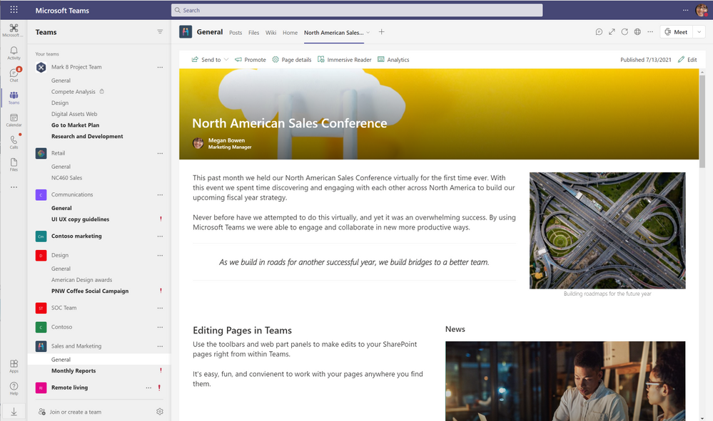 Save and Republish your pages and News within Teams