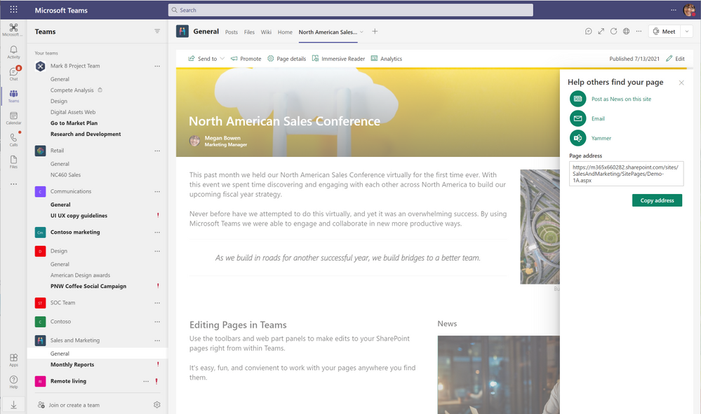 Promote your page or news post to Yammer, with email, or by posting as News