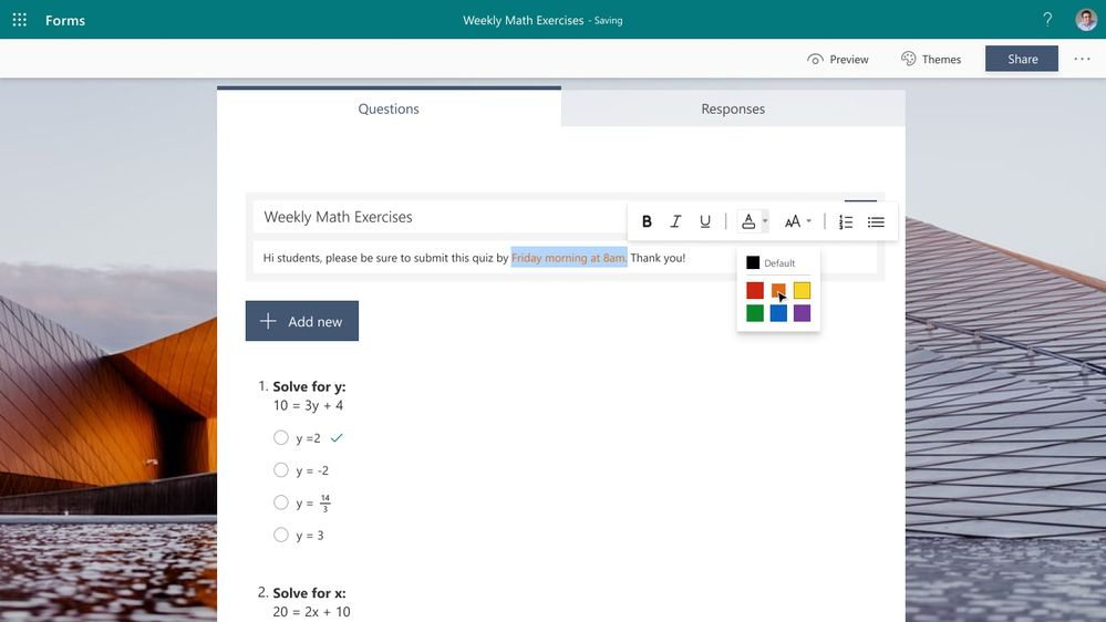 Rich Text Formatting in Forms