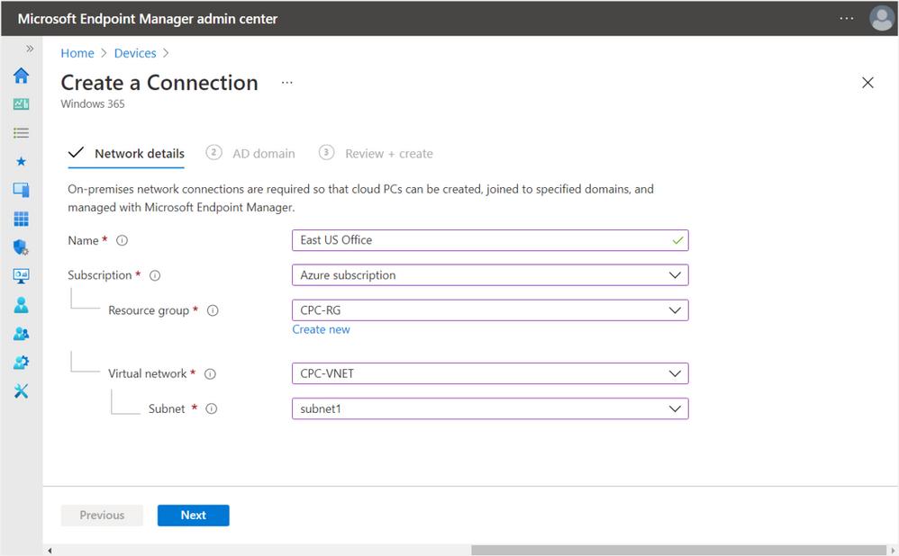 Enter connection Azure vNET information
