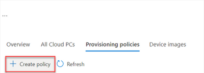 In the Provisioning policies tab, create a policy