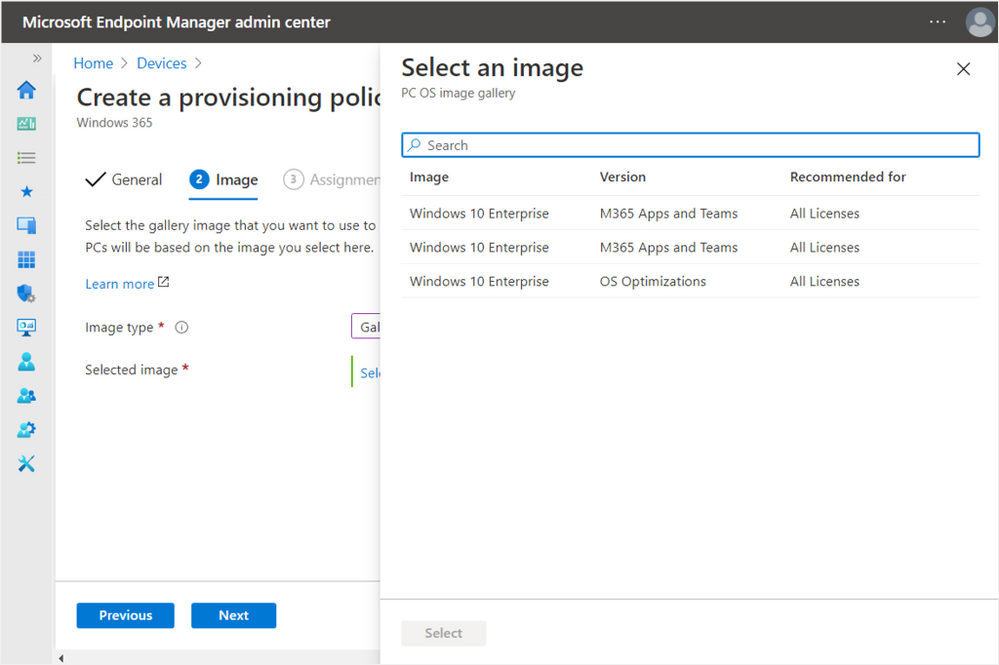 After selecting image type, select your Windows 10 Enterprise version