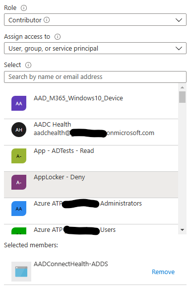 Azure RBAC window for Azure AD Connect Health