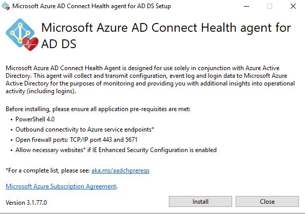 Azure AD Connect Health agent installation window