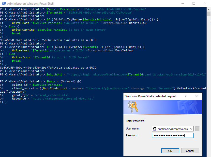 Powershell credential prompt during registration