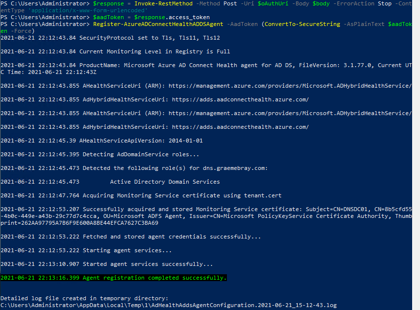 Azure AD Connect Health agent registration Powershell results