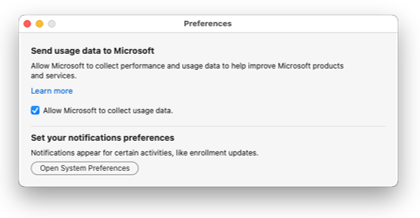 Enabling data collection for the Intune Company Portal app for macOS.
