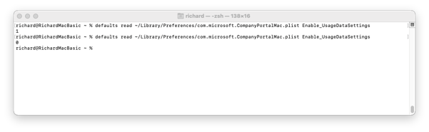 """Screenshot of bash on a macOS device with an output of the """"Enable_UsageDataSettings"""" key."""