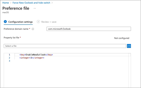 Example configuration of a custom preference file for the Outlook app for macOS in the Microsoft Endpoint Management admin center.