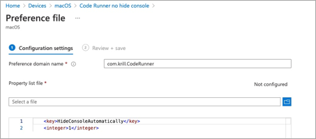 Example configuration of a custom preference file for the CodeRunner app for macOS in the Microsoft Endpoint Management admin center.