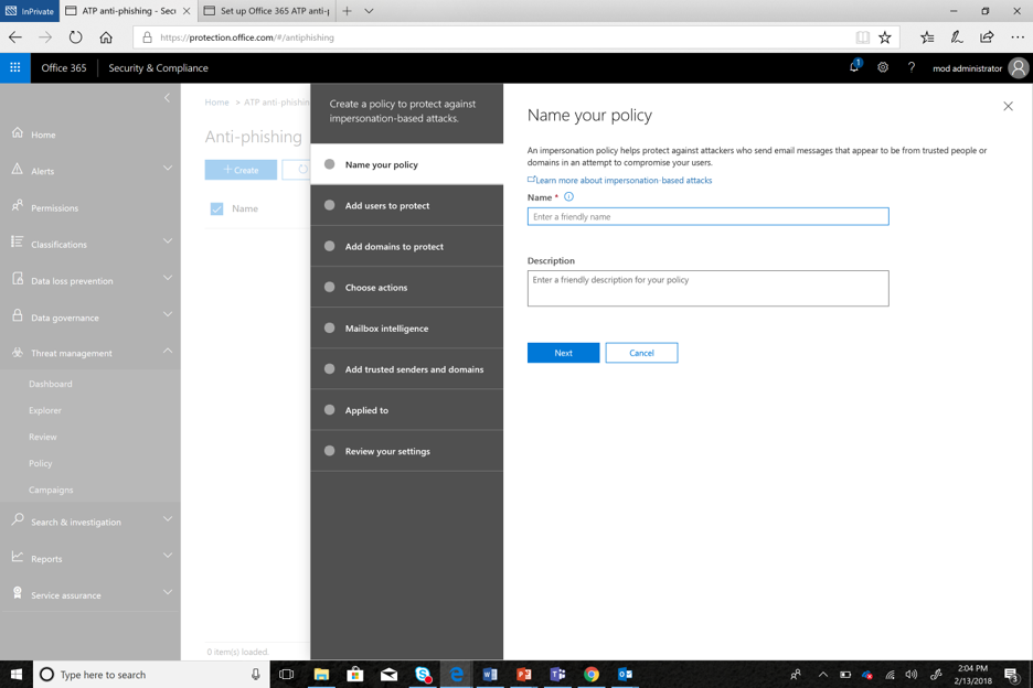 Figure 4.  Anti-Impersonation Policy UI