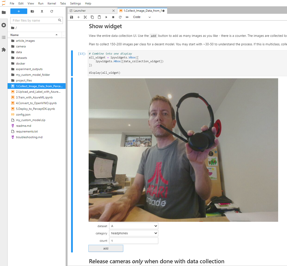 Using Jupyter notebooks to capture, train and build models for Azure Percept using Azure ML