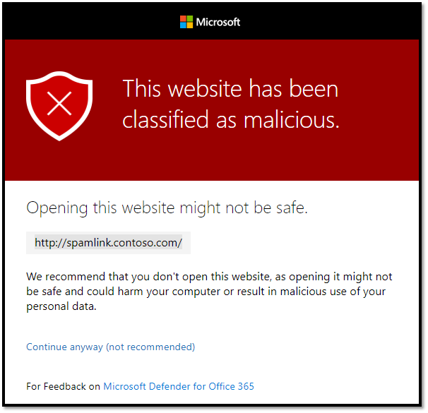Figure 1: Safe Links prevents users from accessing malicious sites