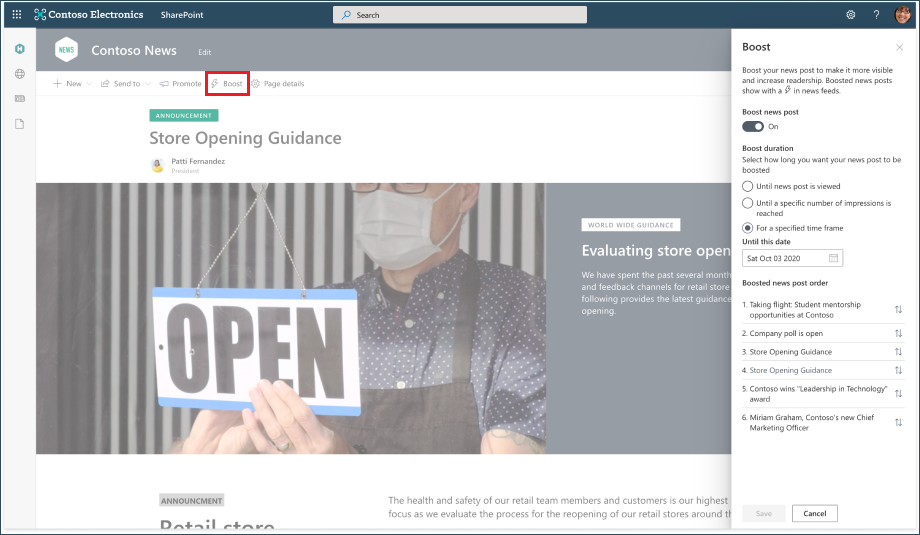 thumbnail image 1 of blog post titled              Boost the visibility of SharePoint news