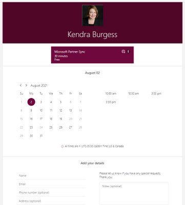 My Microsoft Bookings Calendar for Gold Partners