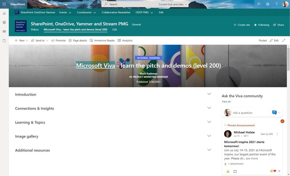 In published mode, a SharePoint page with all sections collapsed.