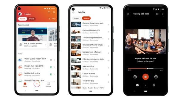 The new Stream player in Office Mobile for Android, you can seamlessly find, access, and view your organization's videos any time you want from within Office Mobile