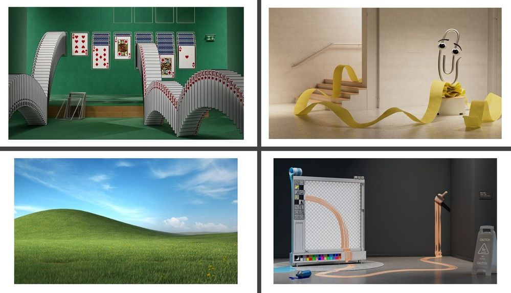 Four memorable Microsoft moments designed for you to use as Microsoft Teams backgrounds.