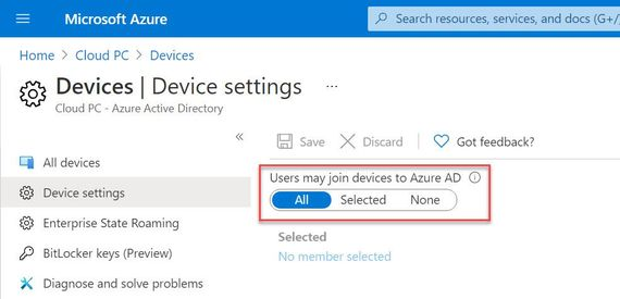 Users may join devices to Azure AD needs to be set to All.