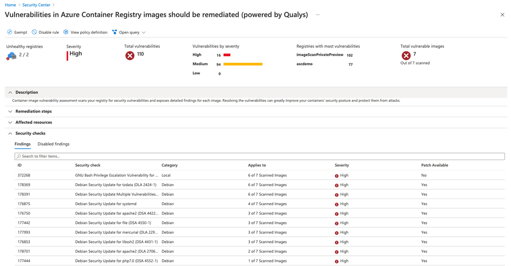 Figure 2 - Recommendation created by Azure Defender for Container Registries