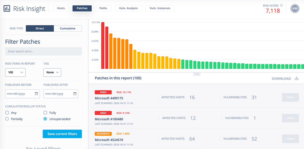 Image 1 shows DeepSurface's Risk Insight model. The paretograph shows all the patches on your network and the relative risk they pose to your business, as well as the number of affected hosts and number of vulnerabilities on your network.