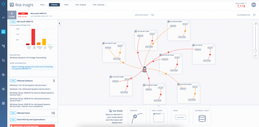 Image 2 shows the risk pathways or hacker roadmap of vulnerabilities and chains of vulnerabilities that could be exploited on a network. By visualizing the most exploitable risk paths, DeepSurface can help you identify which paths pose the most risk to your business and prioritize where to patch first.