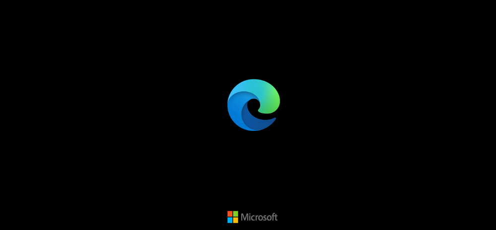 Splash screen for Microsoft Edge set in Dark Theme