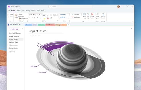 Figure 1: Mock-up of updates coming to the OneNote app on Windows.