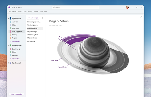 Figure 2: Mock-up of updates coming to the OneNote app on Windows.