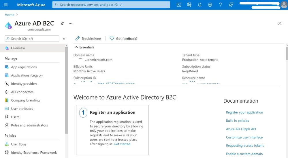 Azure AD B2C in the Azure Portal