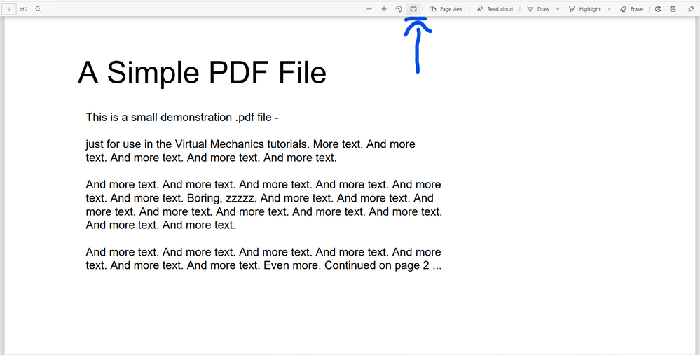 Fit to Page option in the PDF viewer which is depicted by an arrow