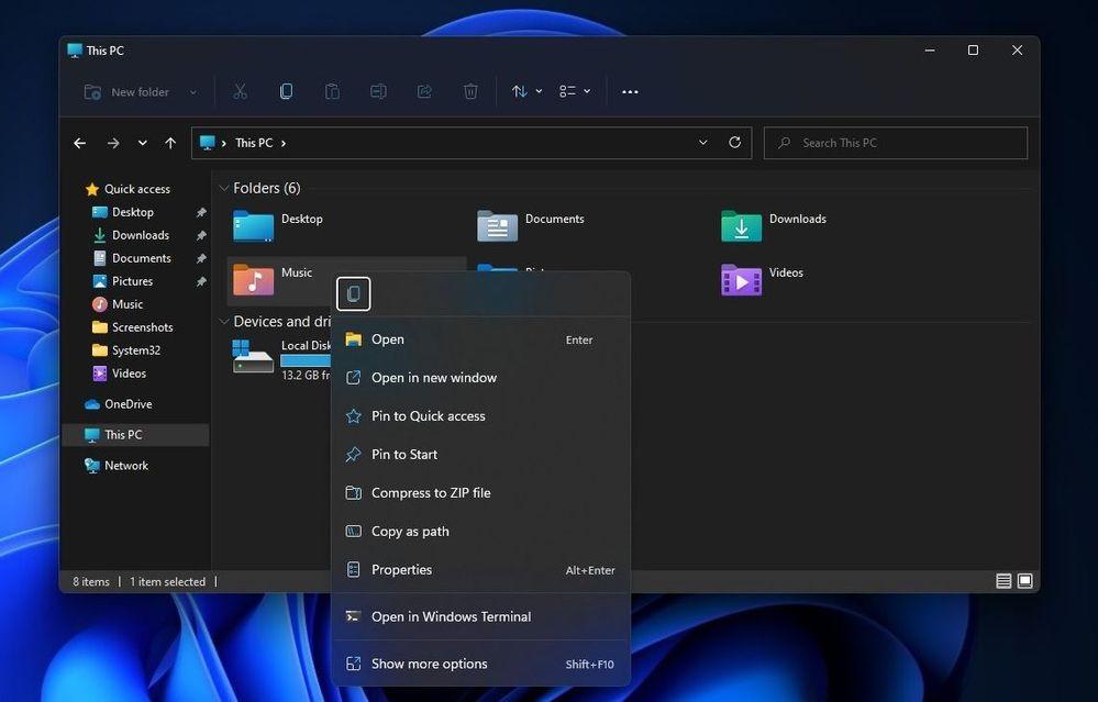 content menu of file explorer